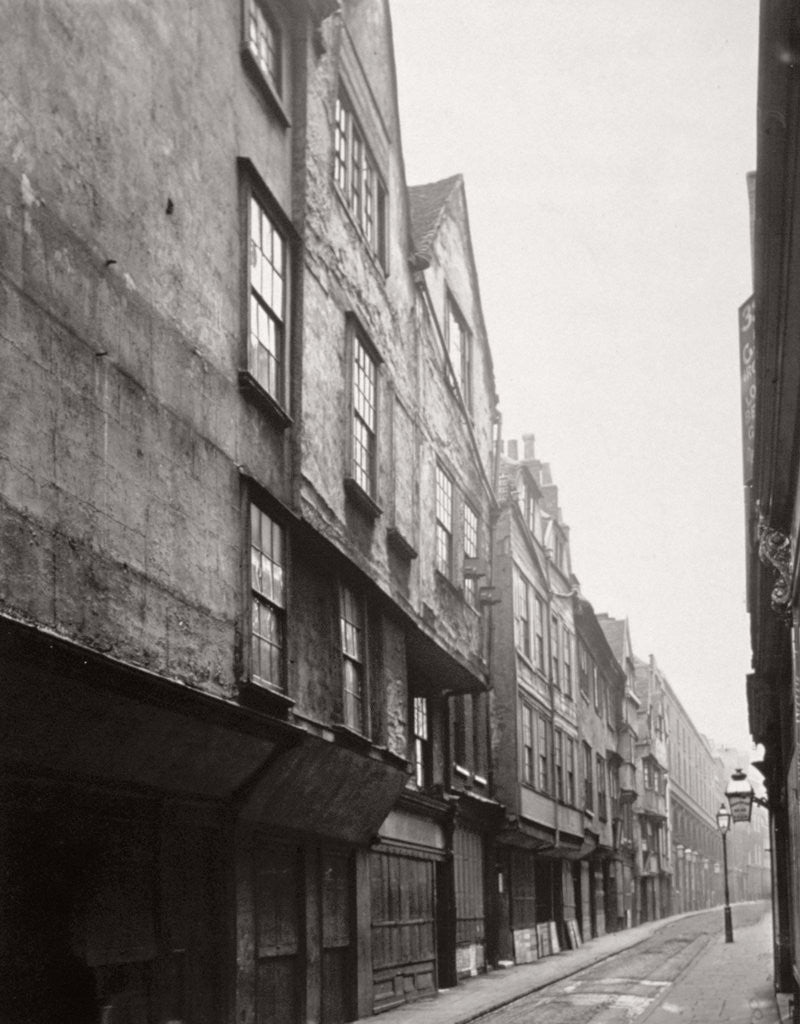 Detail of View of houses in Wych Street, Westminster, London by Society for Photographing the Relics of Old London