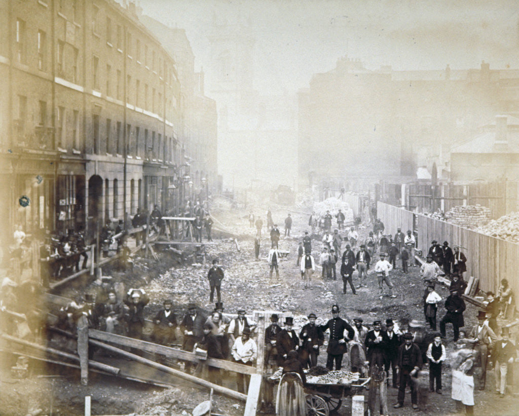 Detail of Road widening works in Shoe Lane, City of London by Henry Dixon