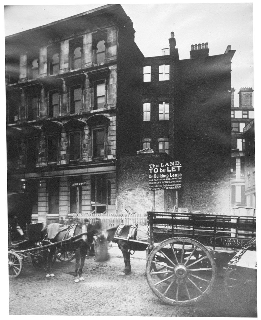 Detail of View of land to let in Arthur Street East with two horse-drawn carts in front, City of London by Henry Dixon