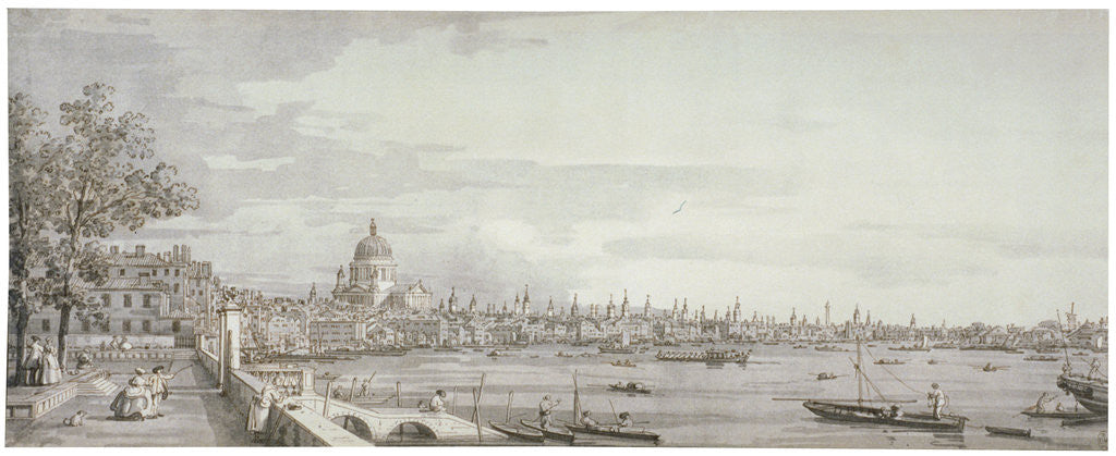 Detail of View of the River Thames, London by Giovanni Antonio Canaletto