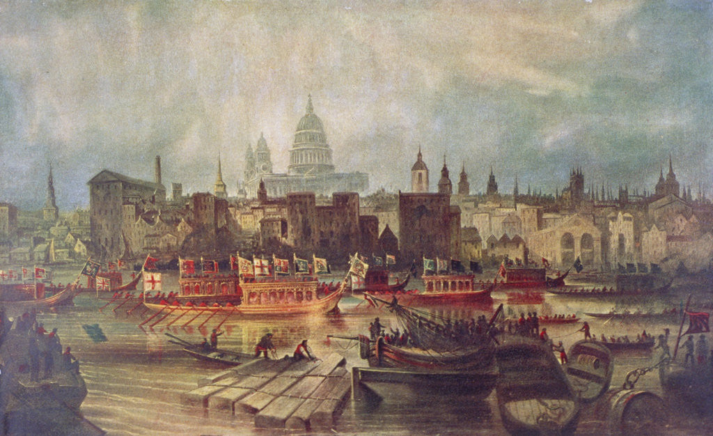 Detail of The Lord Mayor's procession by water to Westminster, London by Anonymous