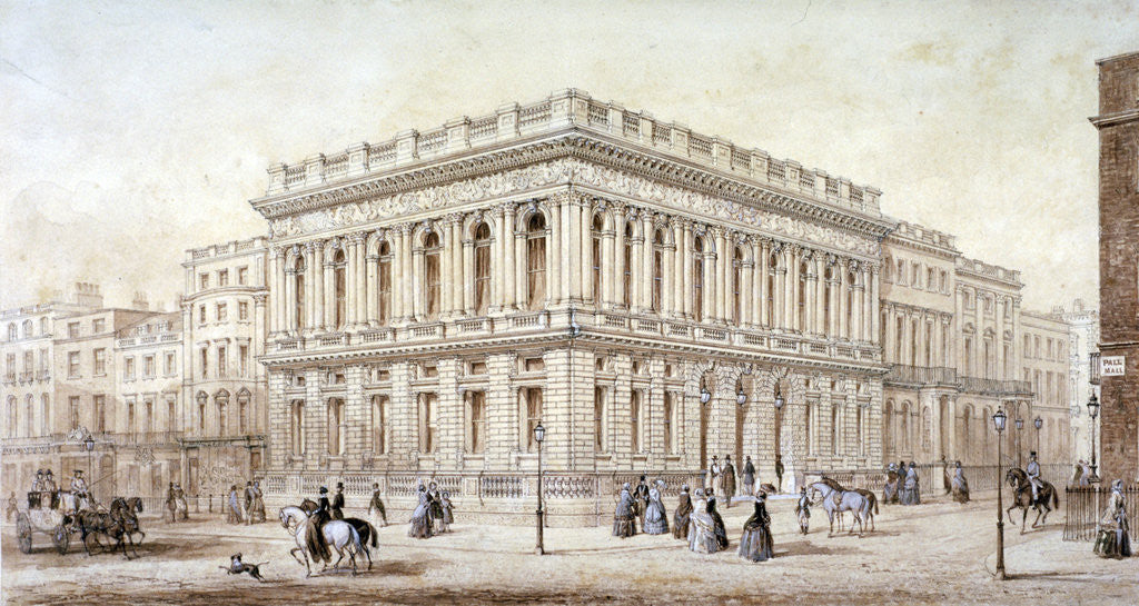 Detail of View of the Army and Navy Club on Pall Mall, Westminster, London by J Marchant