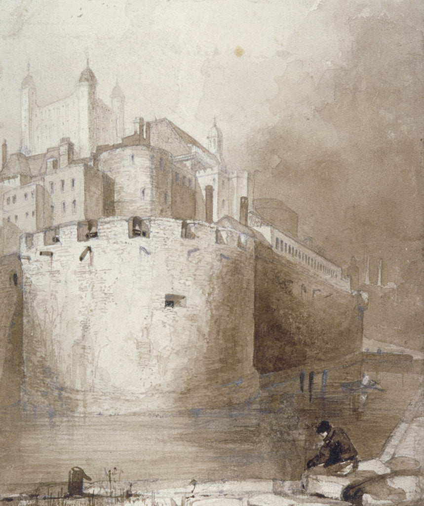 Detail of View of the Tower of London from the moat by Anonymous