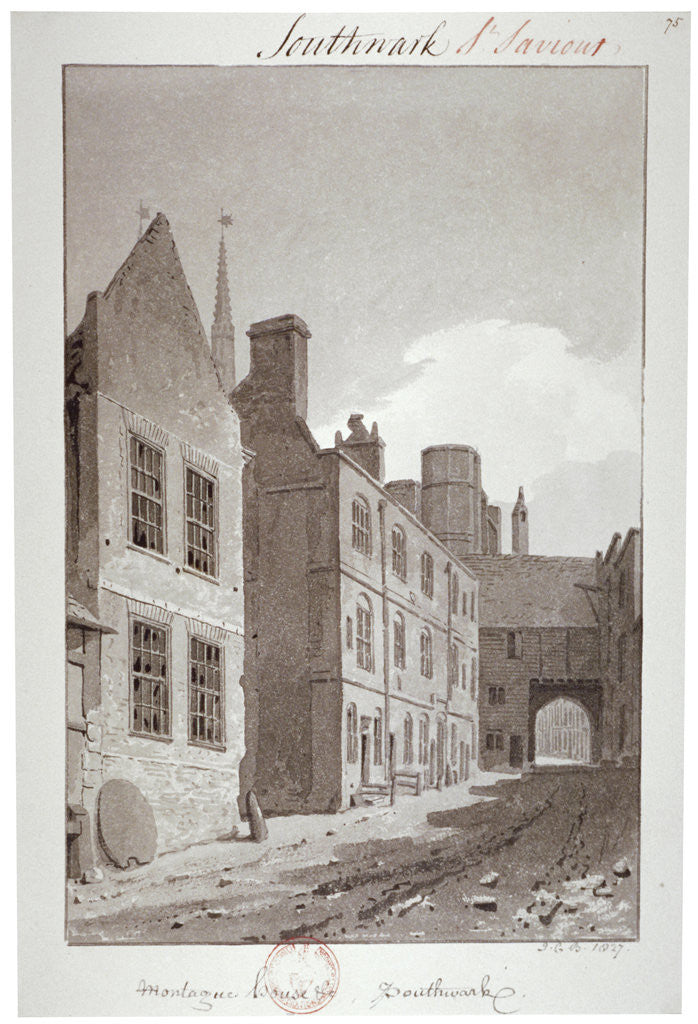 Detail of View looking towards the gateway of Montague House, Southwark, London by