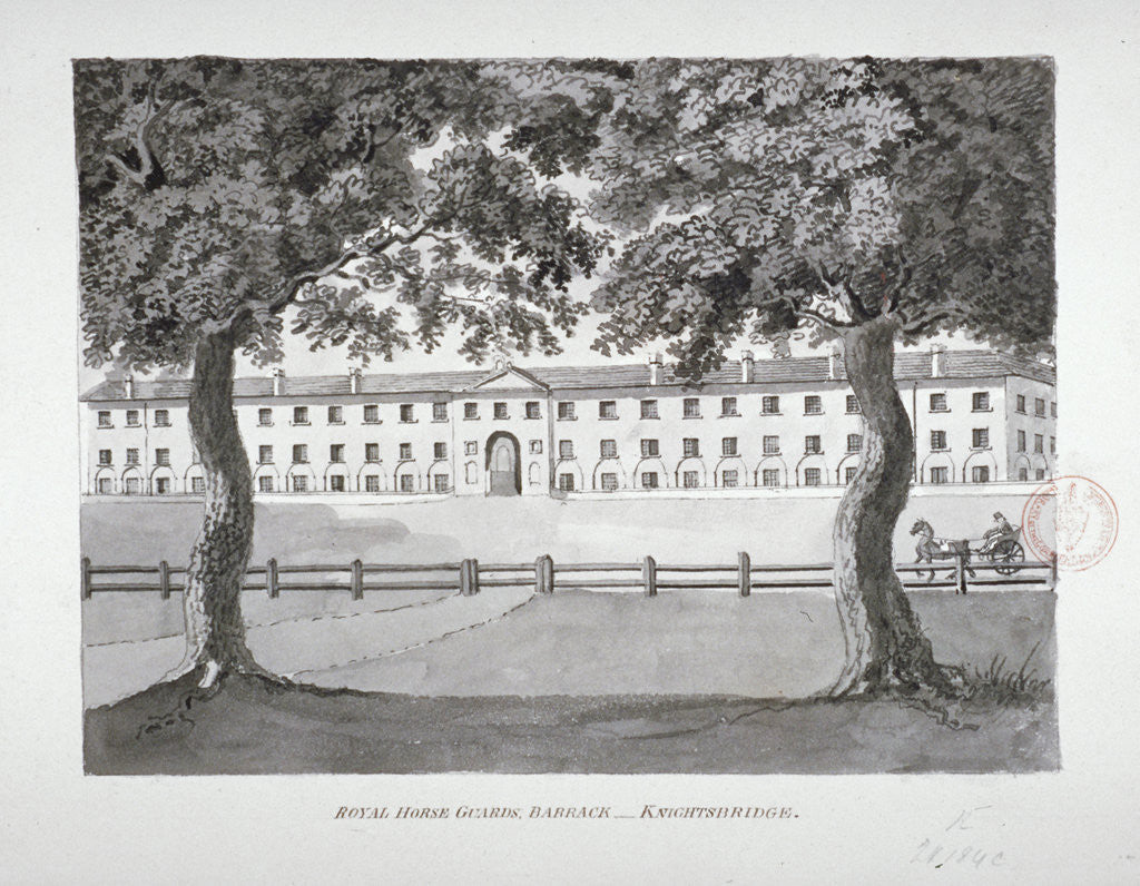 Detail of View of the Royal Horse Guards Barracks, Knightsbridge, Westminster, London by