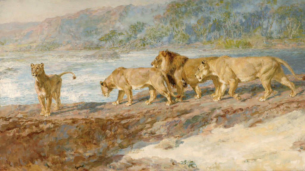 Detail of On the bank of an African river by Briton Riviere