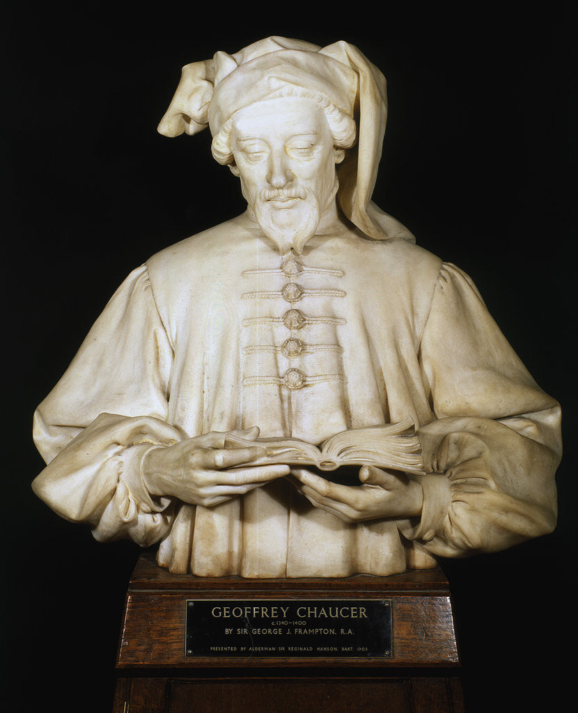 Detail of Bust of Geoffrey Chaucer, medieval English poet by George Frampton