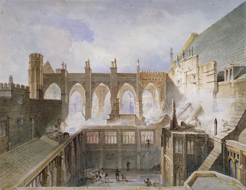 Detail of View of the destruction of St Stephen's Chapel, Palace of Westminster, London, 1834 by