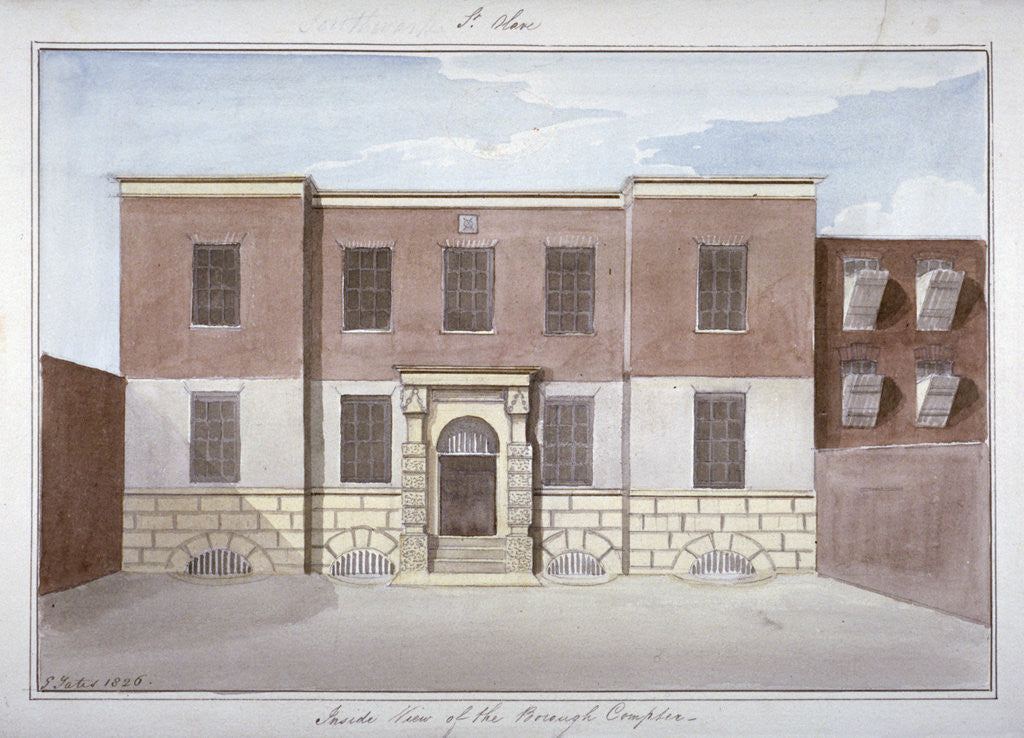 Detail of View of Borough Compter, a debtors' prison in Mill Lane, Bermondsey, London by G Yates