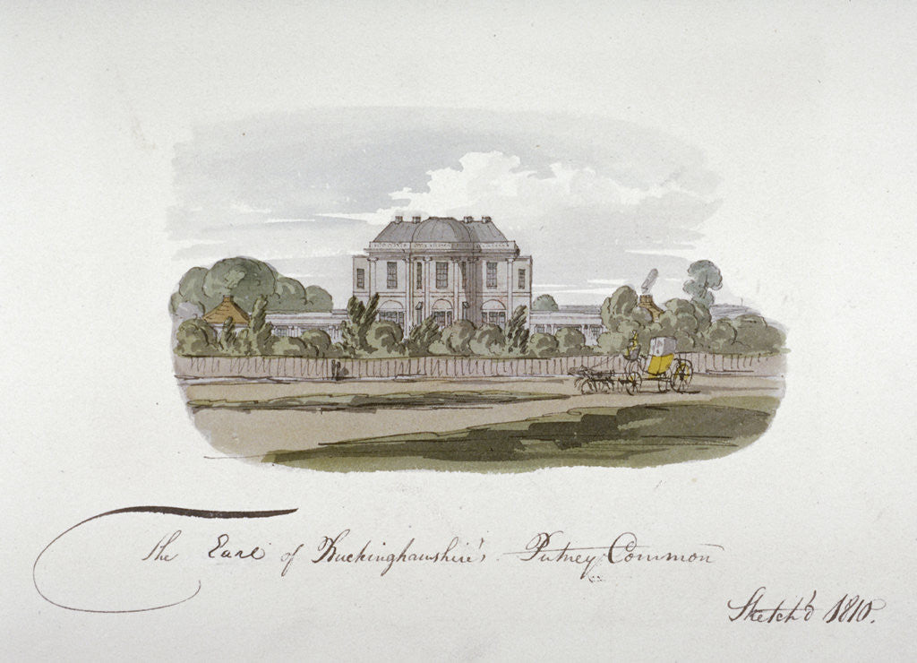 Detail of View of the Earl of Buckinghamshire's mansion at Putney Common, London by