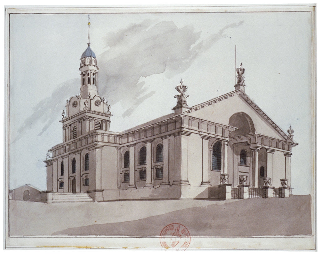 Detail of South-east view of the Church of St Alfege, Greenwich, London by Anonymous