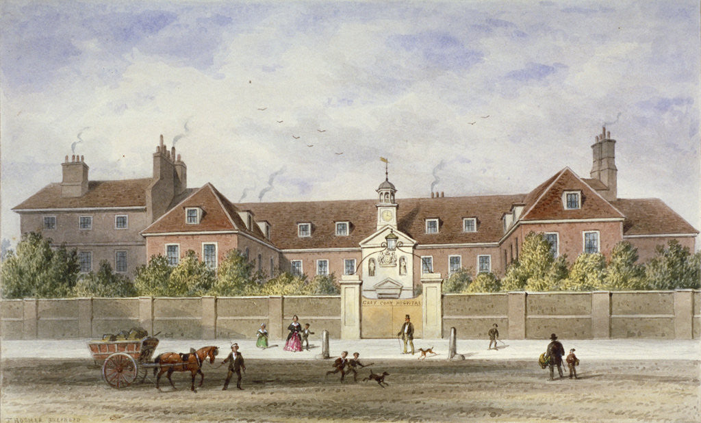 Detail of Grey Coat Hospital, Tothill Fields, Westminster, London by Thomas Hosmer Shepherd
