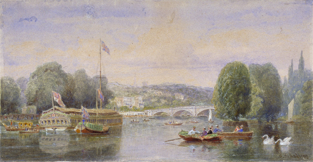 Detail of The River Thames with Richmond Bridge and Richmond Hill in the distance, London by George Henry Andrews