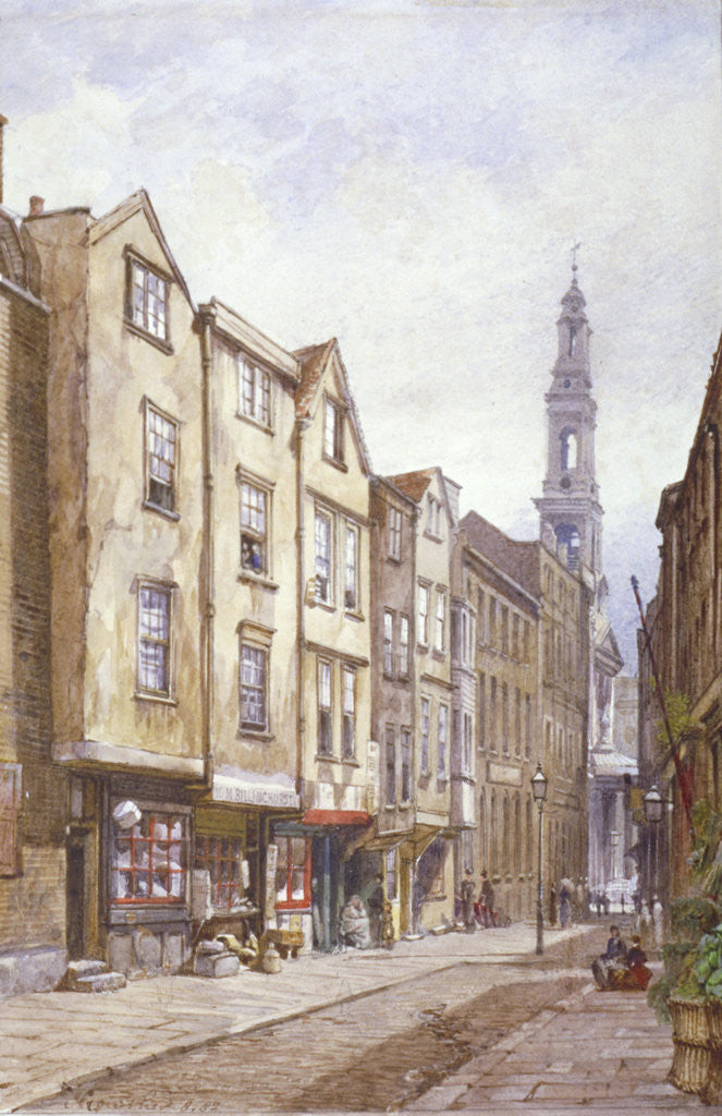 Detail of View of Drury Court, looking towards St Mary le Strand, Westminster, London by