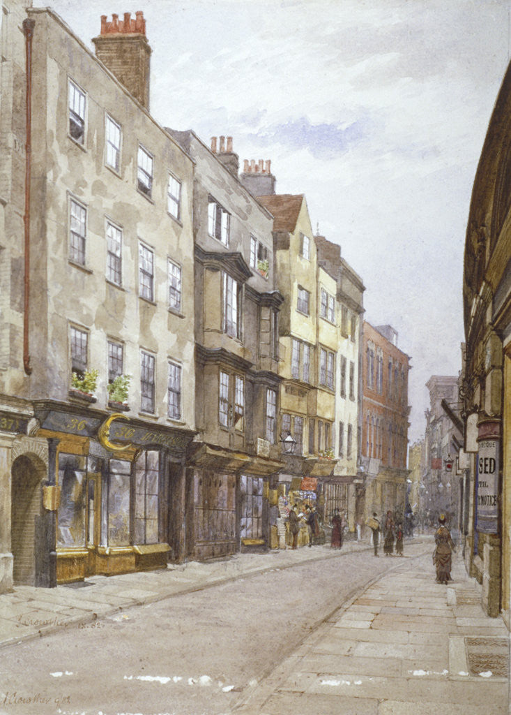 Detail of View of Hollywell Street looking west, Westminster, London by John Crowther