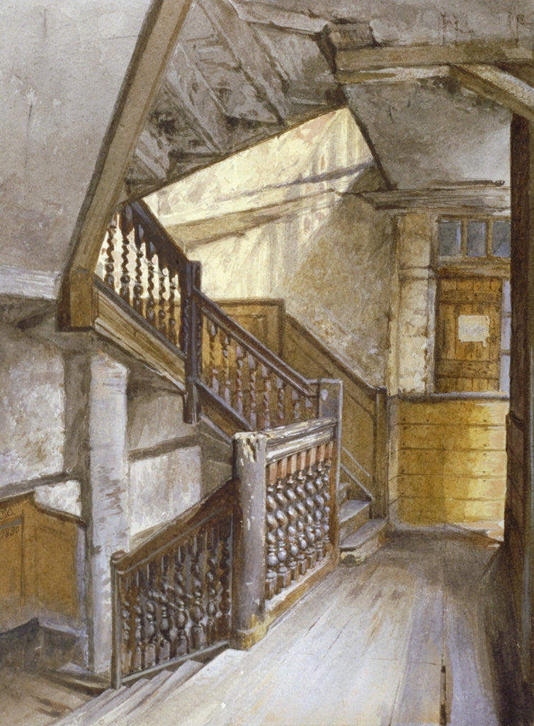 Detail of Interior view of a staircase in a house in White Lion Court, Westminster, London by John Crowther