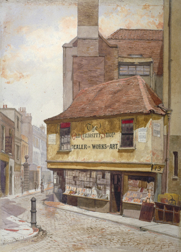 Detail of View of the Old Curiosity Shop, Portsmouth Street, Westminster, London by John Crowther