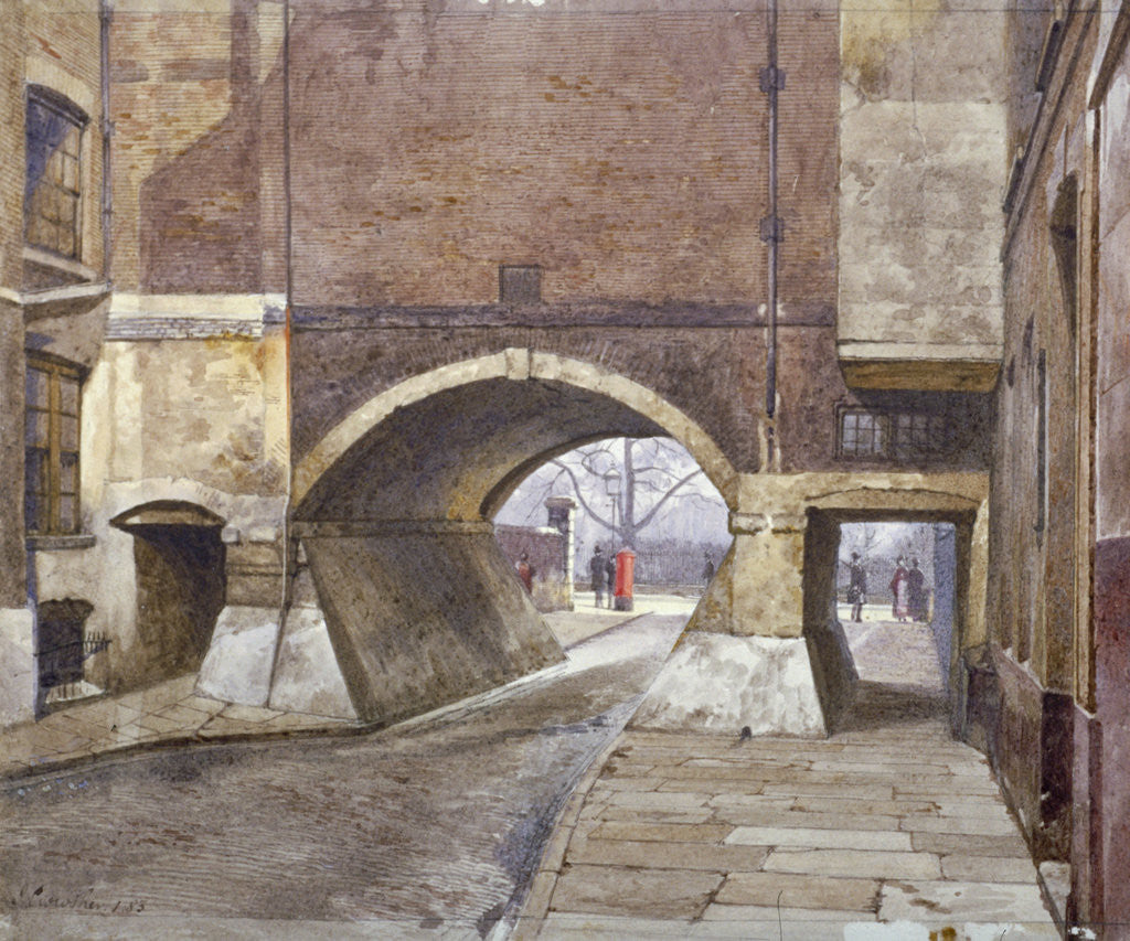 Detail of View of the entrance to Lincoln's Inn Fields in Duke Street, Westminster, London by John Crowther