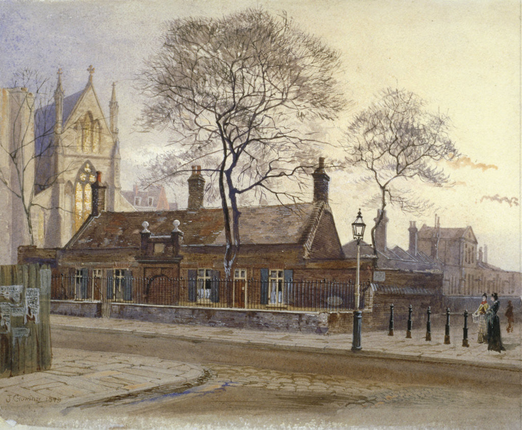Detail of View of Butler's Almshouses, Caxton Street, Westminster, London by John Crowther