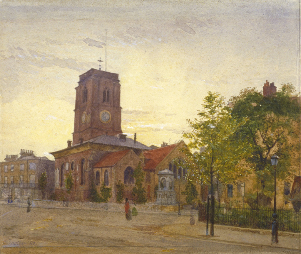 Detail of View of All Saints Church, Chelsea, London by John Crowther
