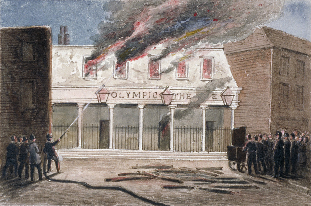 Detail of Fire at the Olympic Theatre, Wych Street, Westminster, London by J Maund