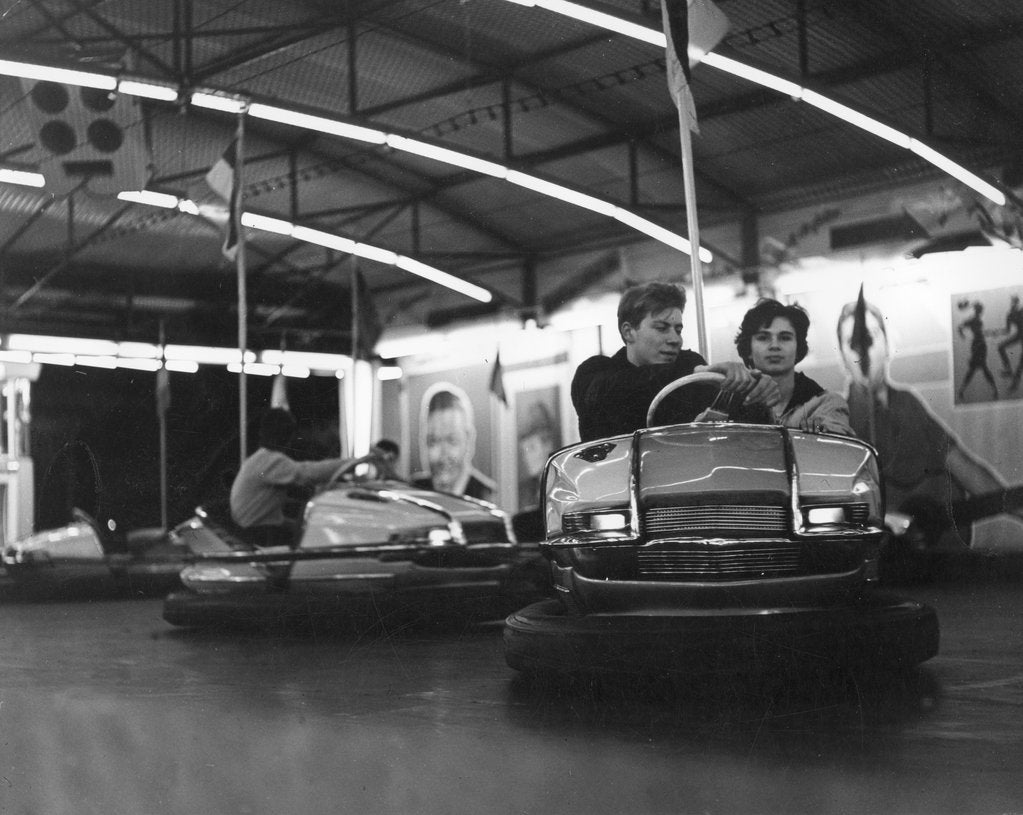 Detail of Couple on dodgems, c1960 by Tony Boxall