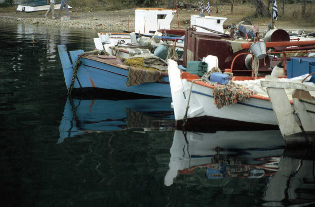 Detail of Harbour, Meganisi, near Levkas, Greece by Tony Boxall