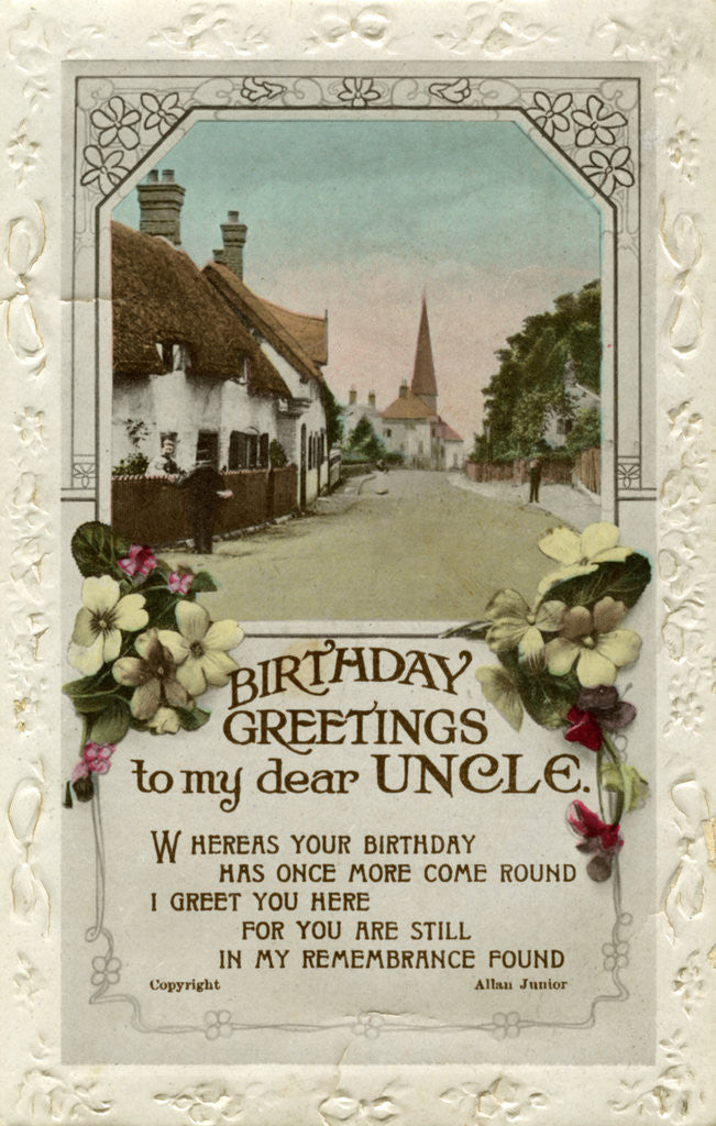 Detail of 'Birthday Greetings to My Dear Uncle', birthday card by Valentine