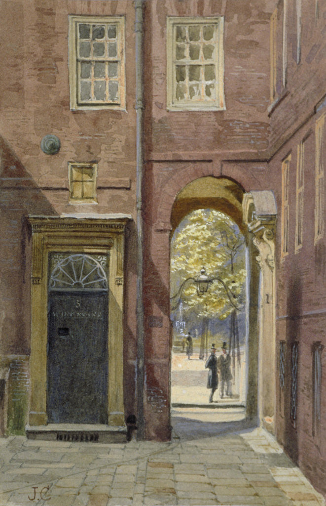 Detail of View of Elm Court, Inner Temple looking towards Middle Temple, London by John Crowther