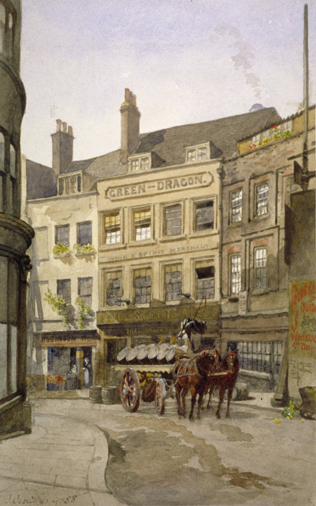 Detail of View of no 11 St Andrew's Hill and the Green Dragon Inn with a cart of barrels, London by John Crowther