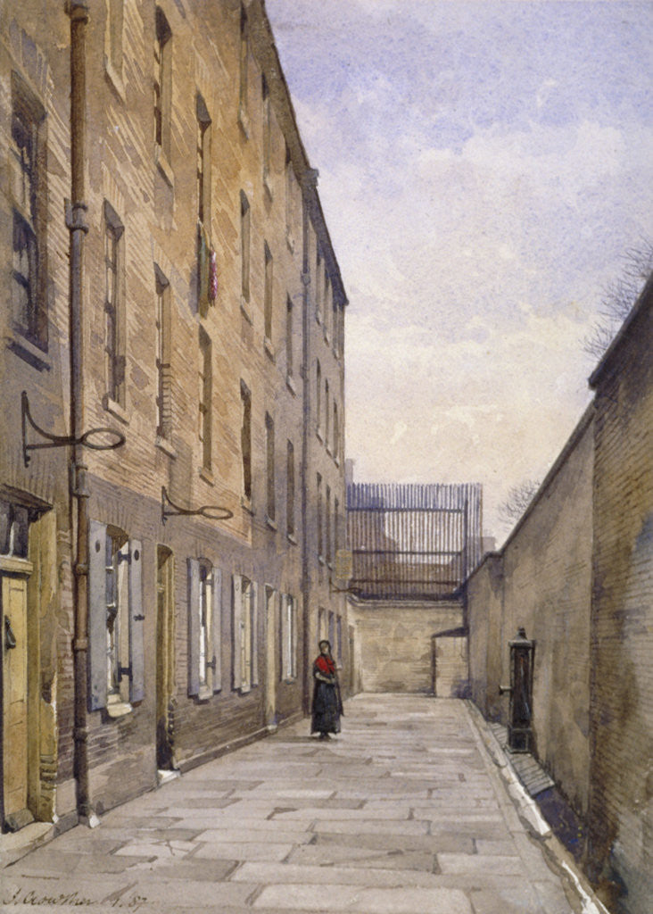 Detail of View of Marshalsea Place, Southwark, London by John Crowther