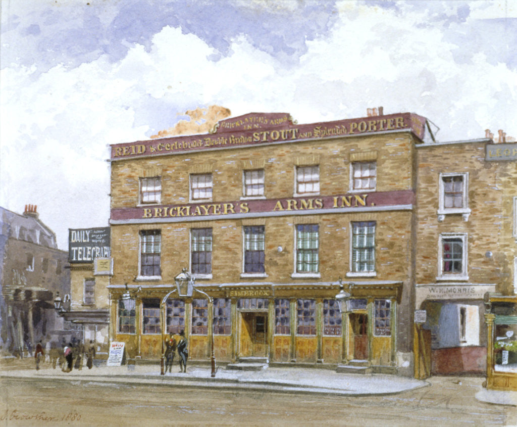 Detail of The Bricklayers' Arms Inn, Old Kent Road, Southwark, London by John Crowther