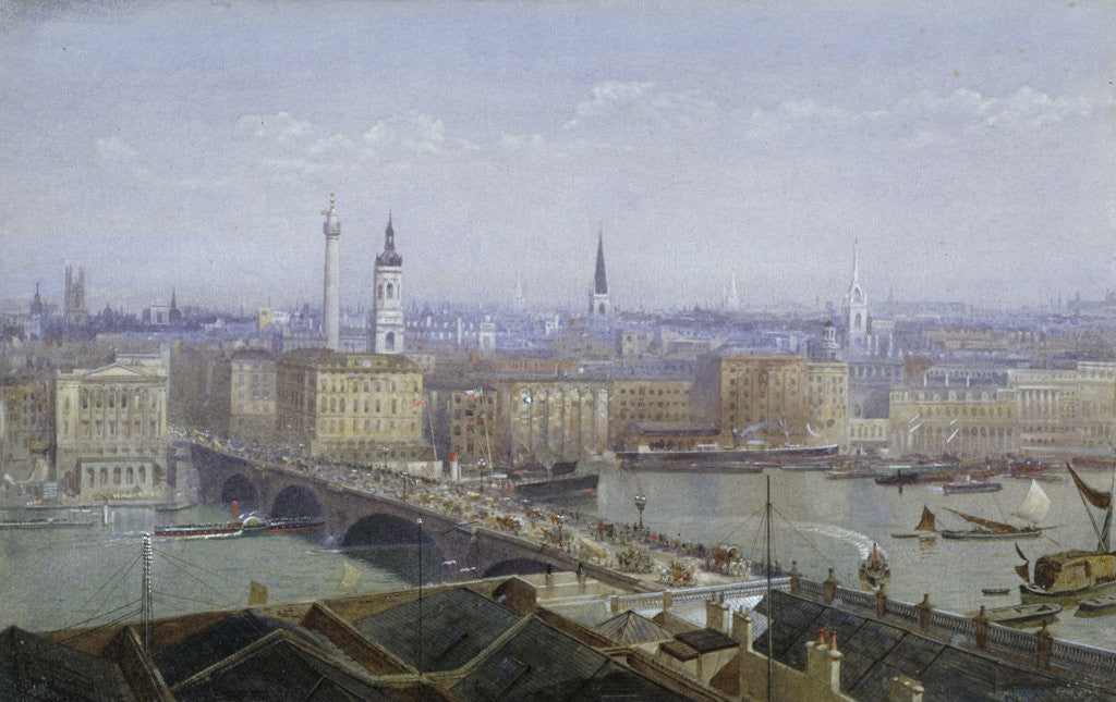 Detail of London Bridge and the City of London by John Crowther