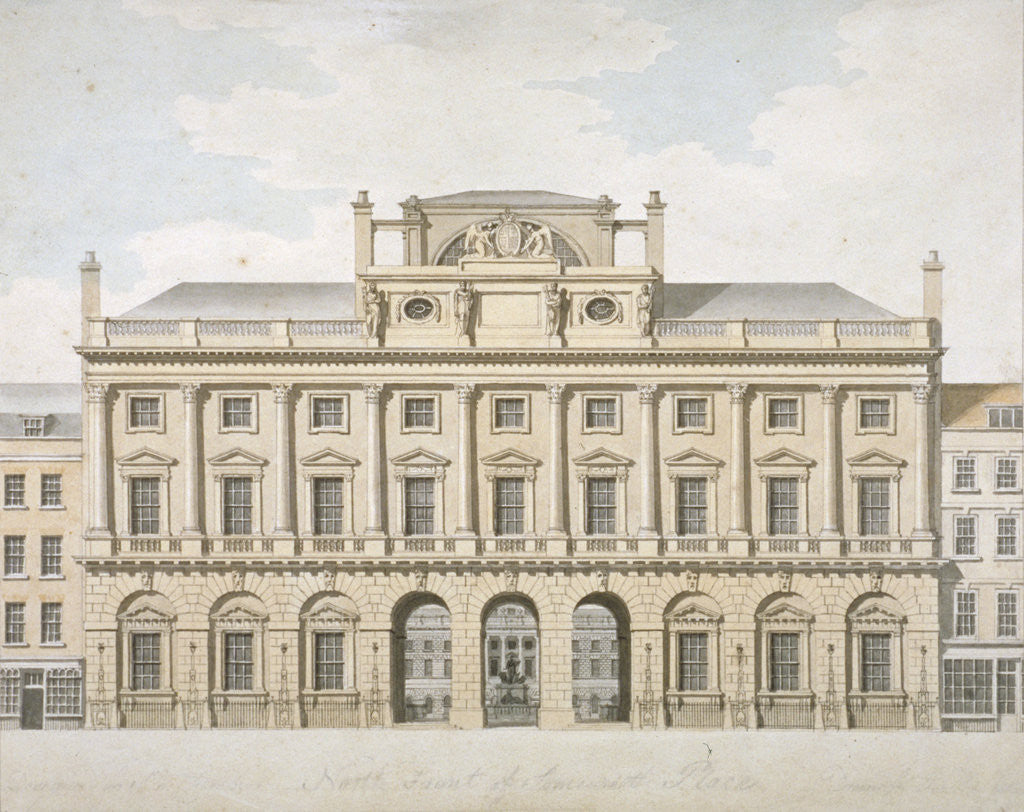 Detail of View of the north front of Somerset House in the Strand, Westminster, London by