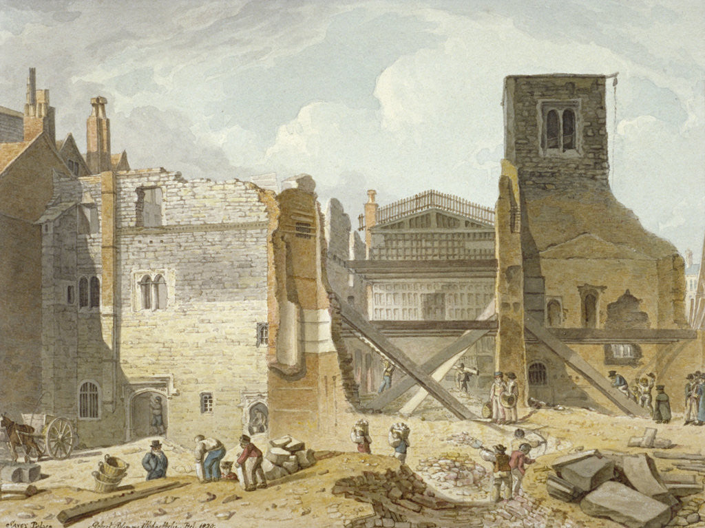 Detail of View of the demolition of the Savoy Palace, Westminster, London by
