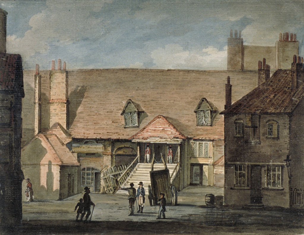Detail of View of barracks in Scotland Yard, Whitehall, Westminster, London by Anonymous