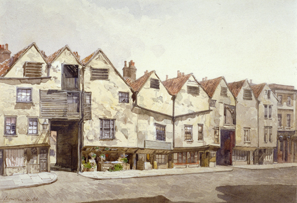 Detail of View of shops and houses, Bermondsey Street, Bermondsey, London by John Crowther