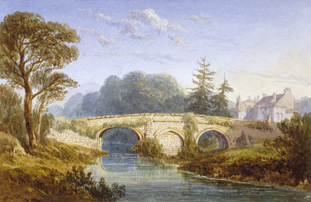 Detail of View of Eltham Bridge near Eltham Palace, Woolwich, Greenwich, London by William Crouch