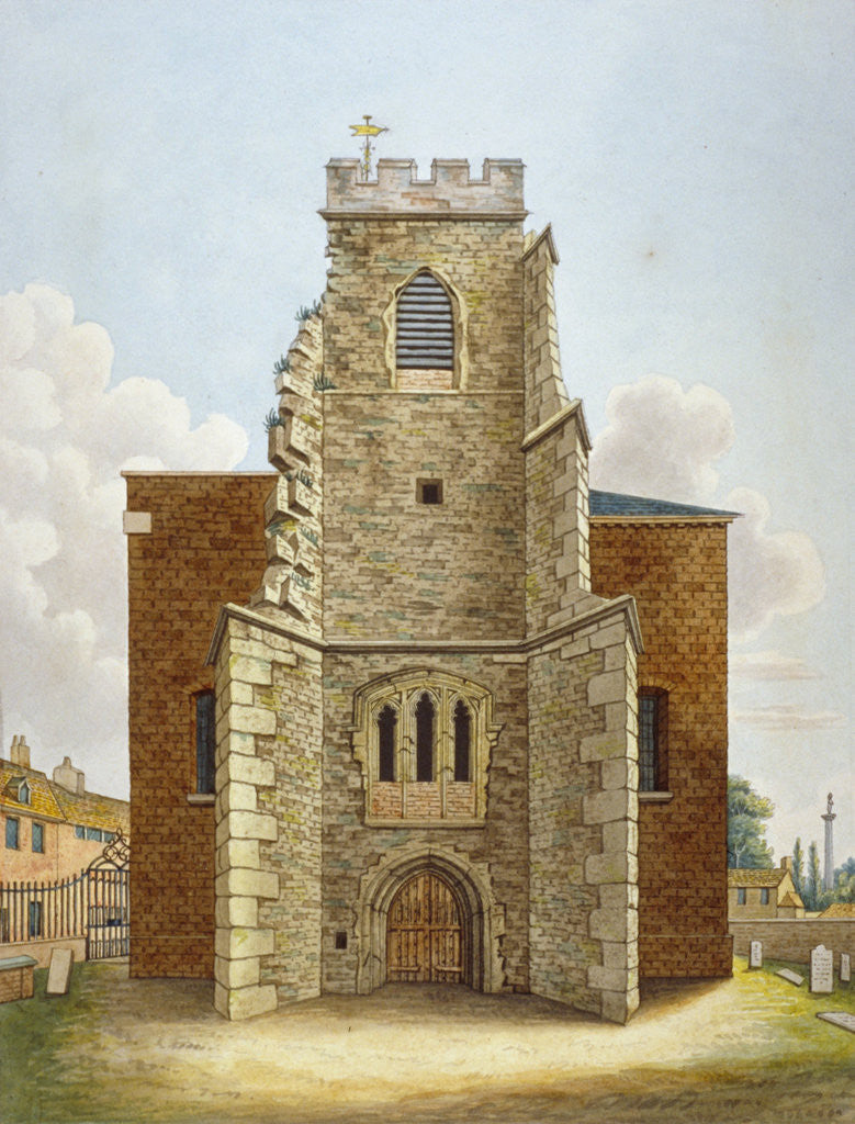 Detail of The original tower of the Church of St Lawrence, Brentford, Middlesex by Anonymous