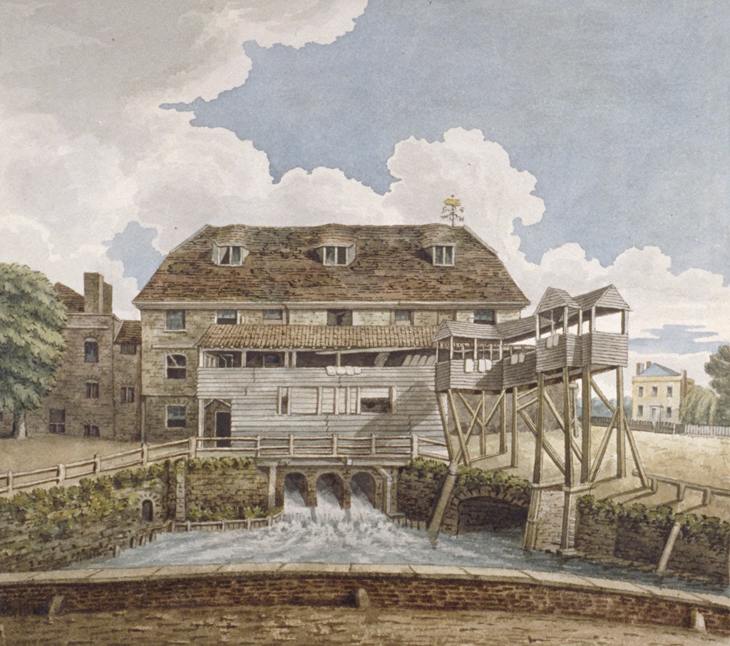 Detail of View of a flour mill at Isleworth, Middlesex by Anonymous