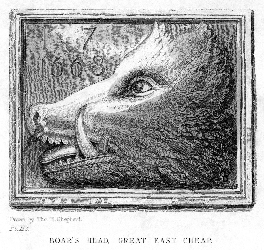 Detail of Inn sign from the Boar's Head Tavern, Eastcheap, London by J Tingle
