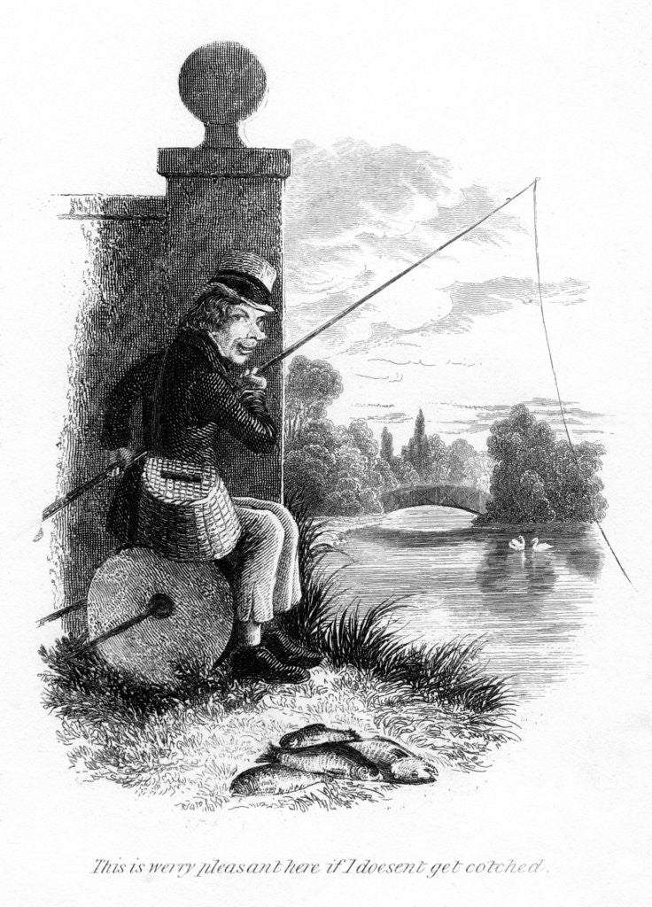 Detail of A man fishing illegally by Anonymous