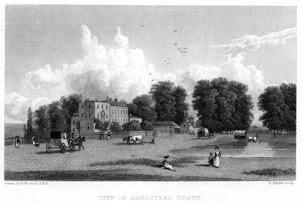 Detail of View on Hampstead Heath, London by E Finden