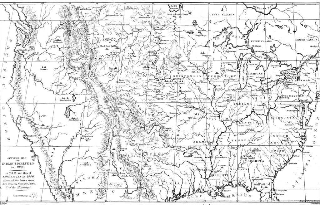 Map of North America with locations of Native American tribes