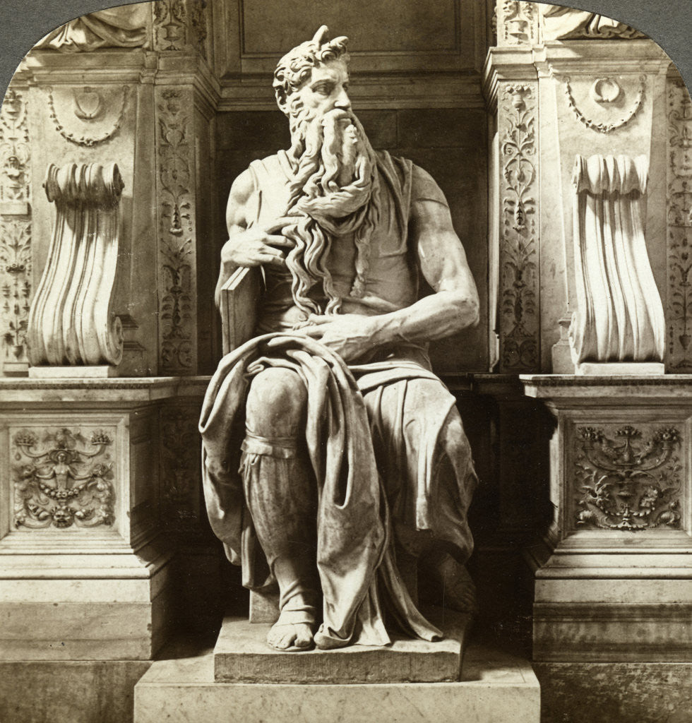 Detail of Michelangelo's statue of Moses, Church of San Pietro in Vincoli, Rome, Italy by Underwood & Underwood