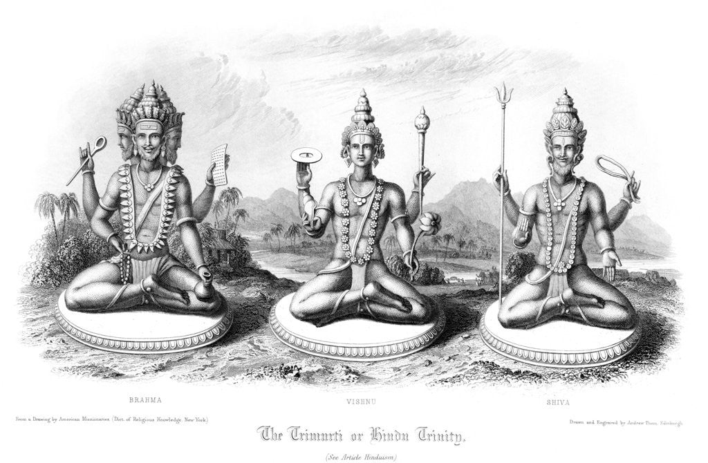 Detail of The Trimurti or Hindu Trinity by Andrew Thomas