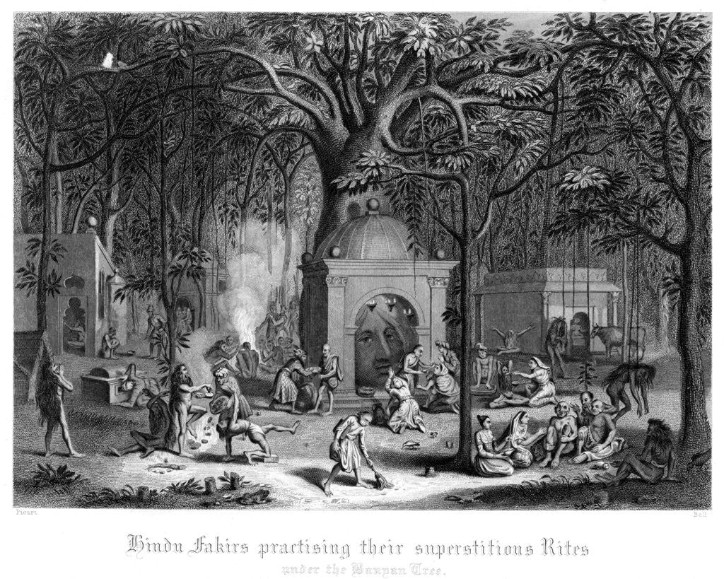 Detail of Hindu Fakirs Practising Their Superstitious Rites Under the Banyan Tree by Bell