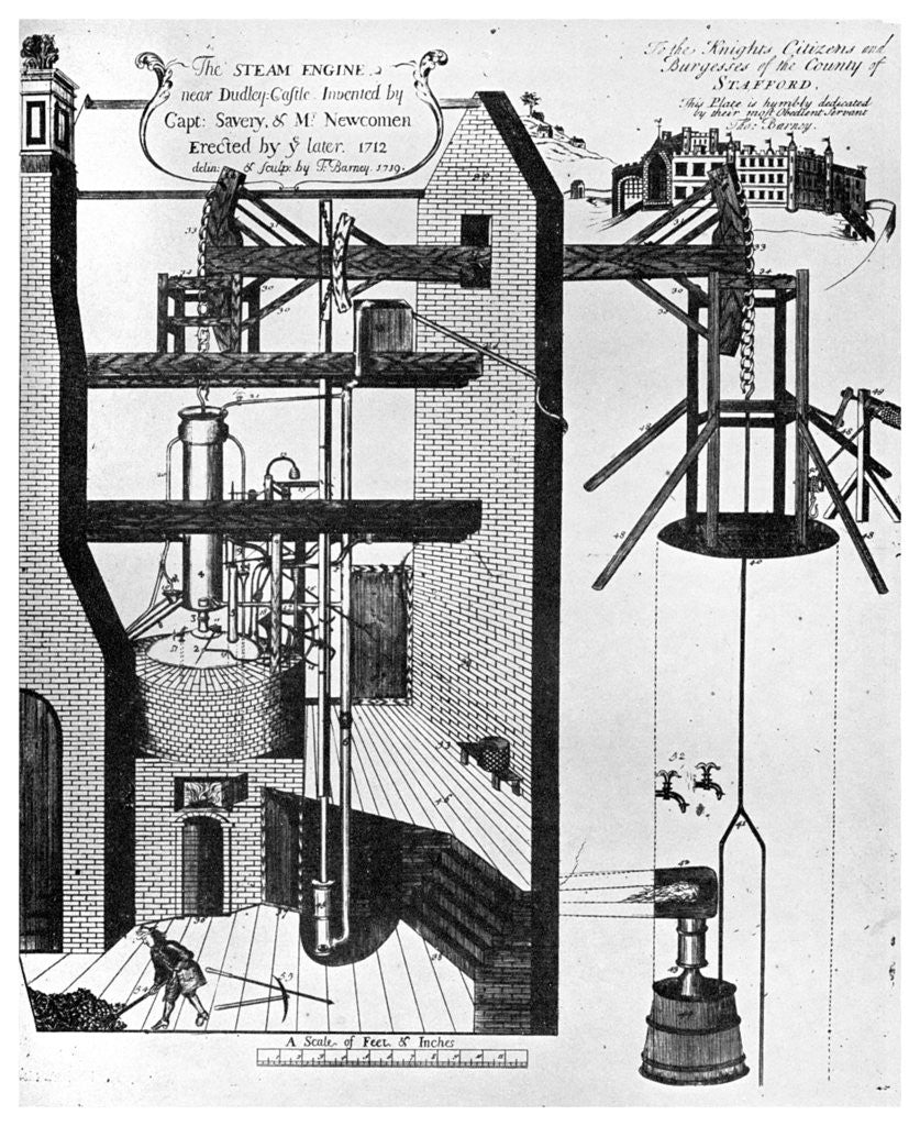 Newcomens Steam Engine For Draining Mines Posters Prints By Anonymous Diagram Of Detail