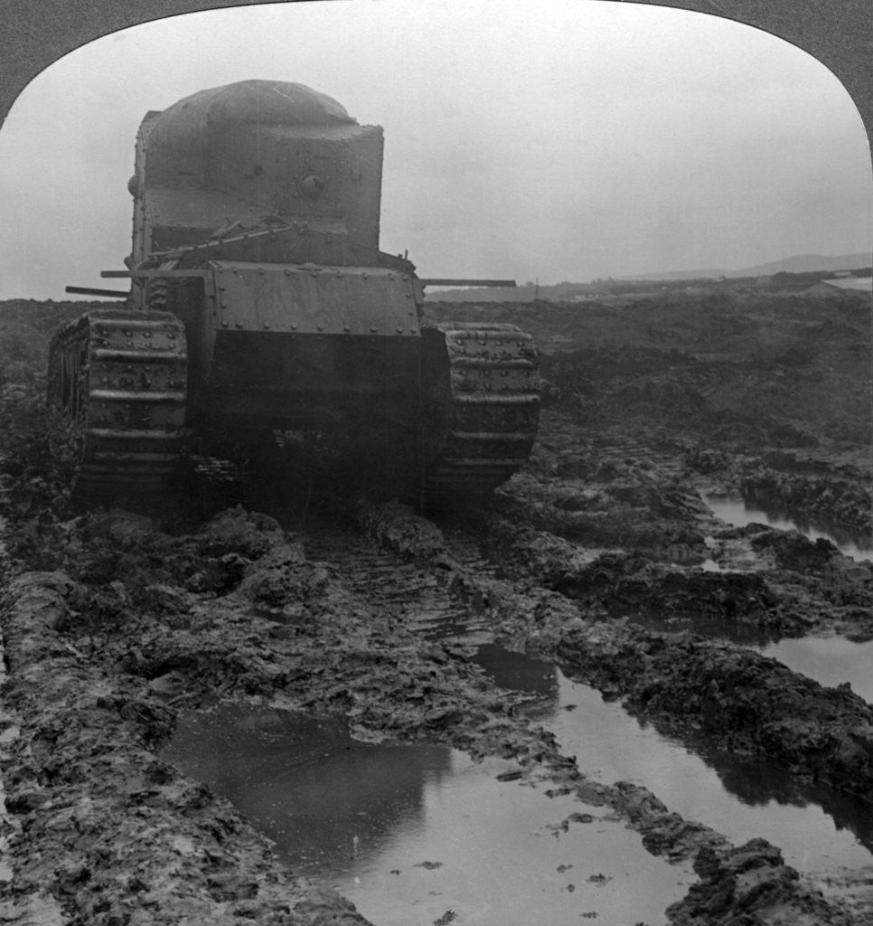 Detail of Whippet tank on a muddy battlefield, Morcourt, France, World War I by Realistic Travels Publishers