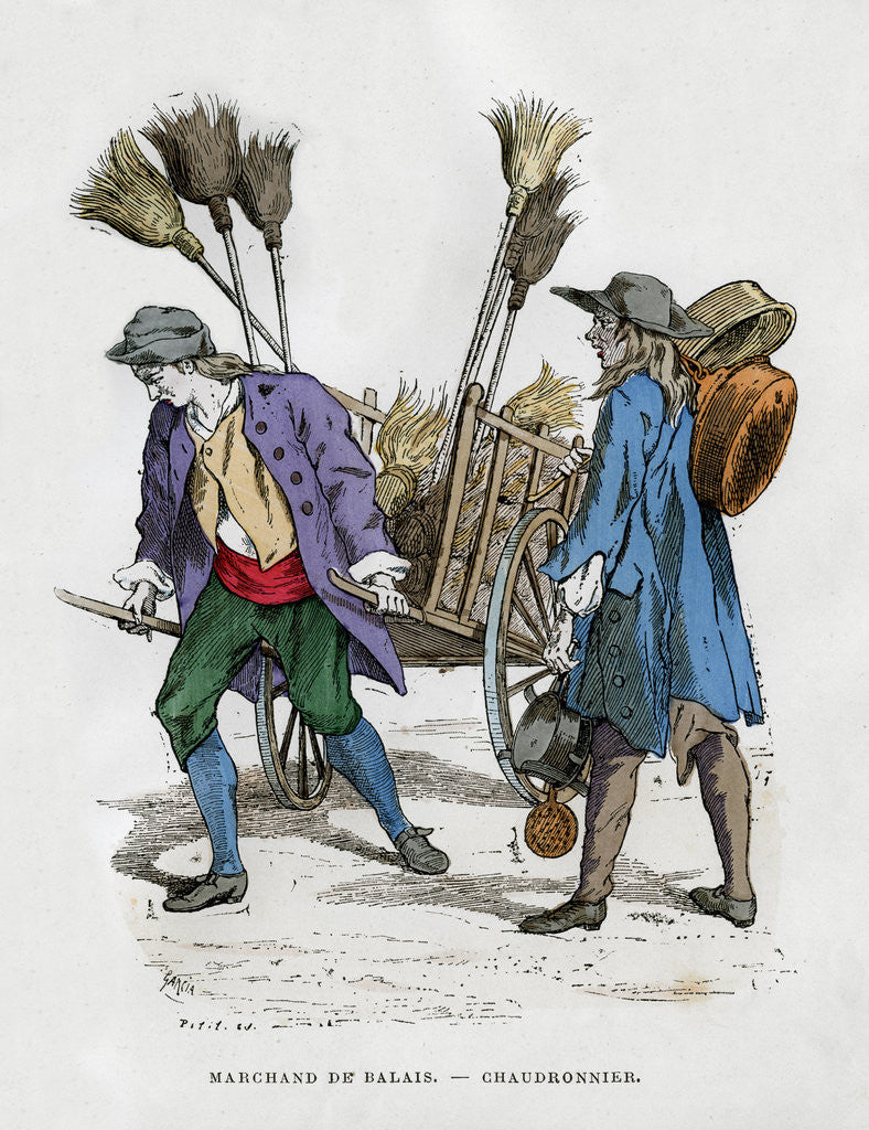 Detail of Broom seller and boilermaker by Anonymous